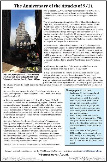 Anniversary of Sept 11